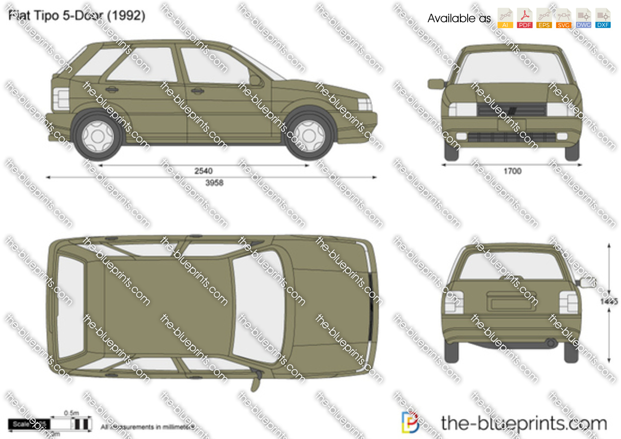 fiat tipo 5 door vector drawing. Black Bedroom Furniture Sets. Home Design Ideas