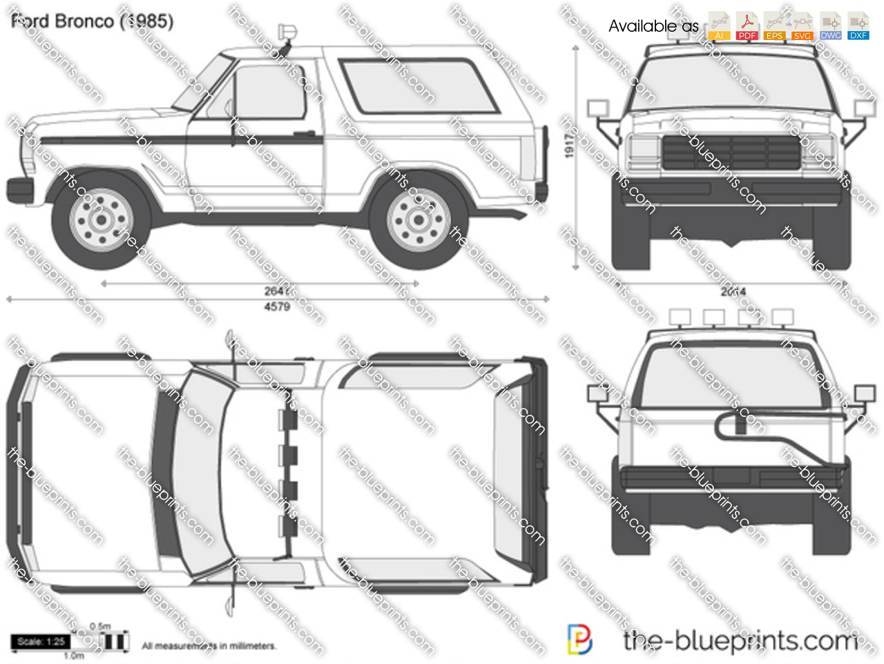 ford bronco vector drawing