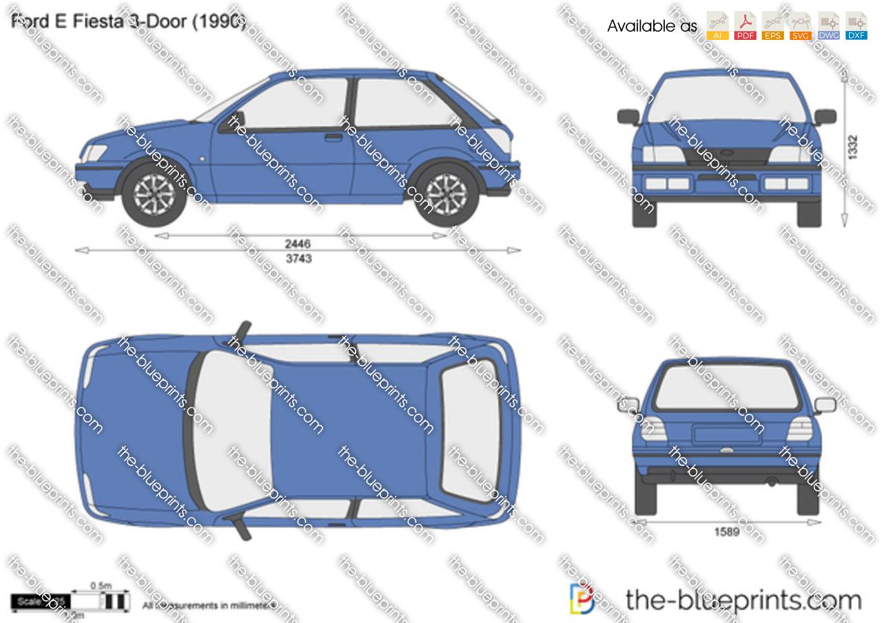Ford Fiesta 3 Door Vector Drawing