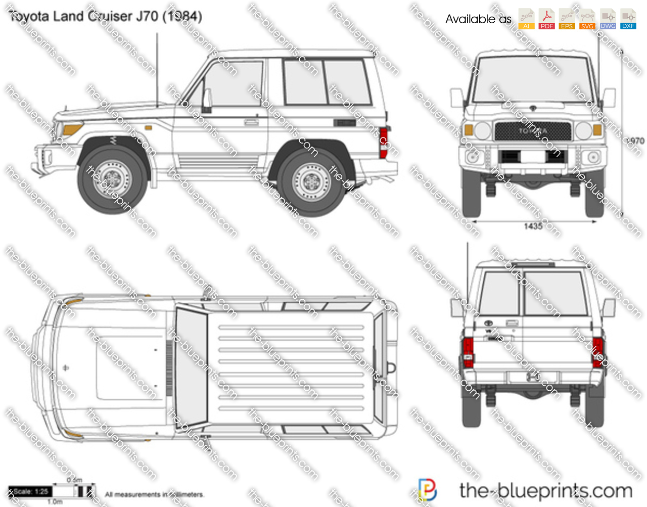 toyota land cruiser j70 swb vector drawing