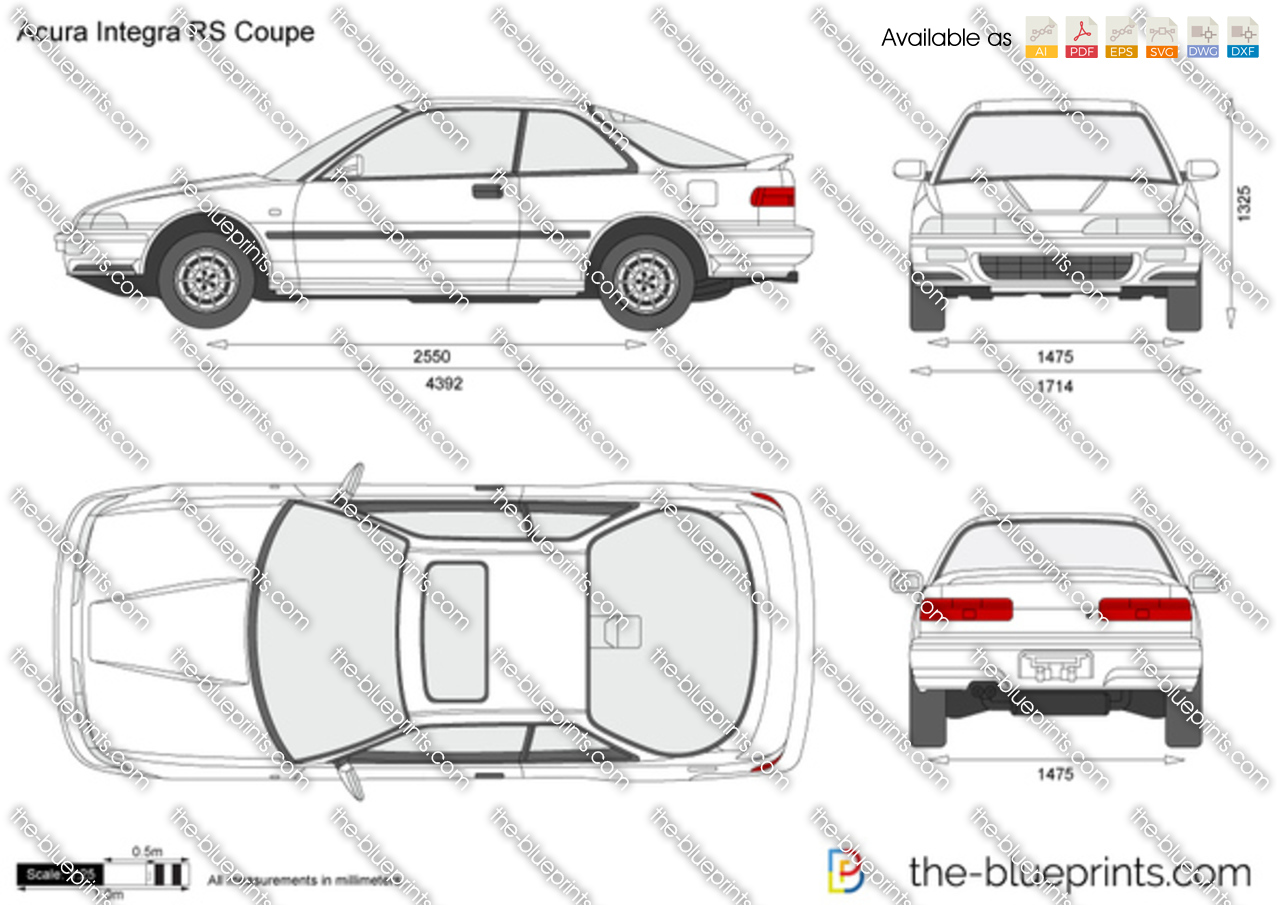 Acura Integra Rs Coupe Vector Drawing