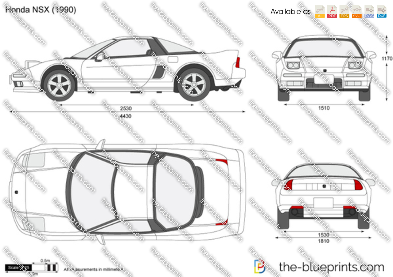 the blueprints     vector drawing   honda nsx