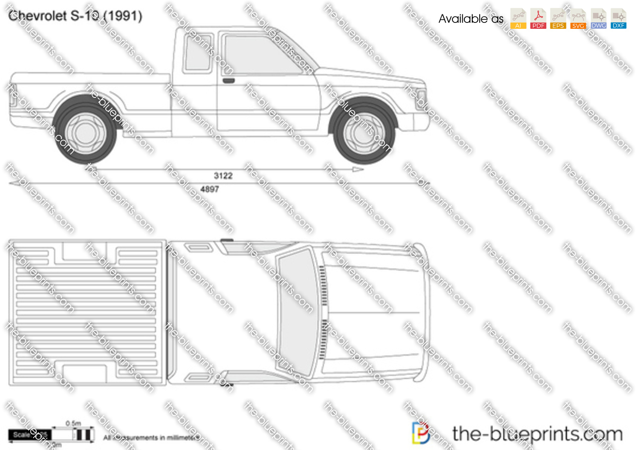 Chevrolet S 10 Extended Cab Vector Drawing