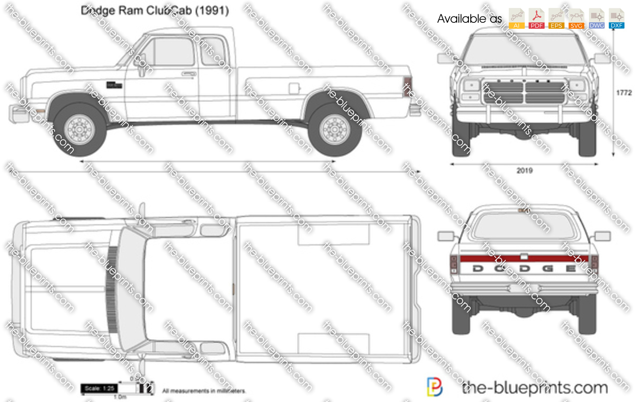 Dodge Ram Clubcab Vector Drawing