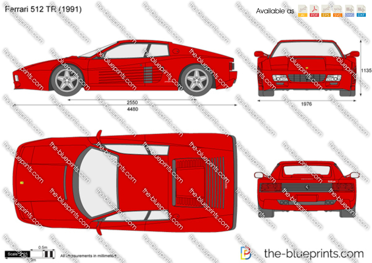 The blueprints vector drawing ferrari 512 tr 1993 ferrari 512 tr vanachro Images