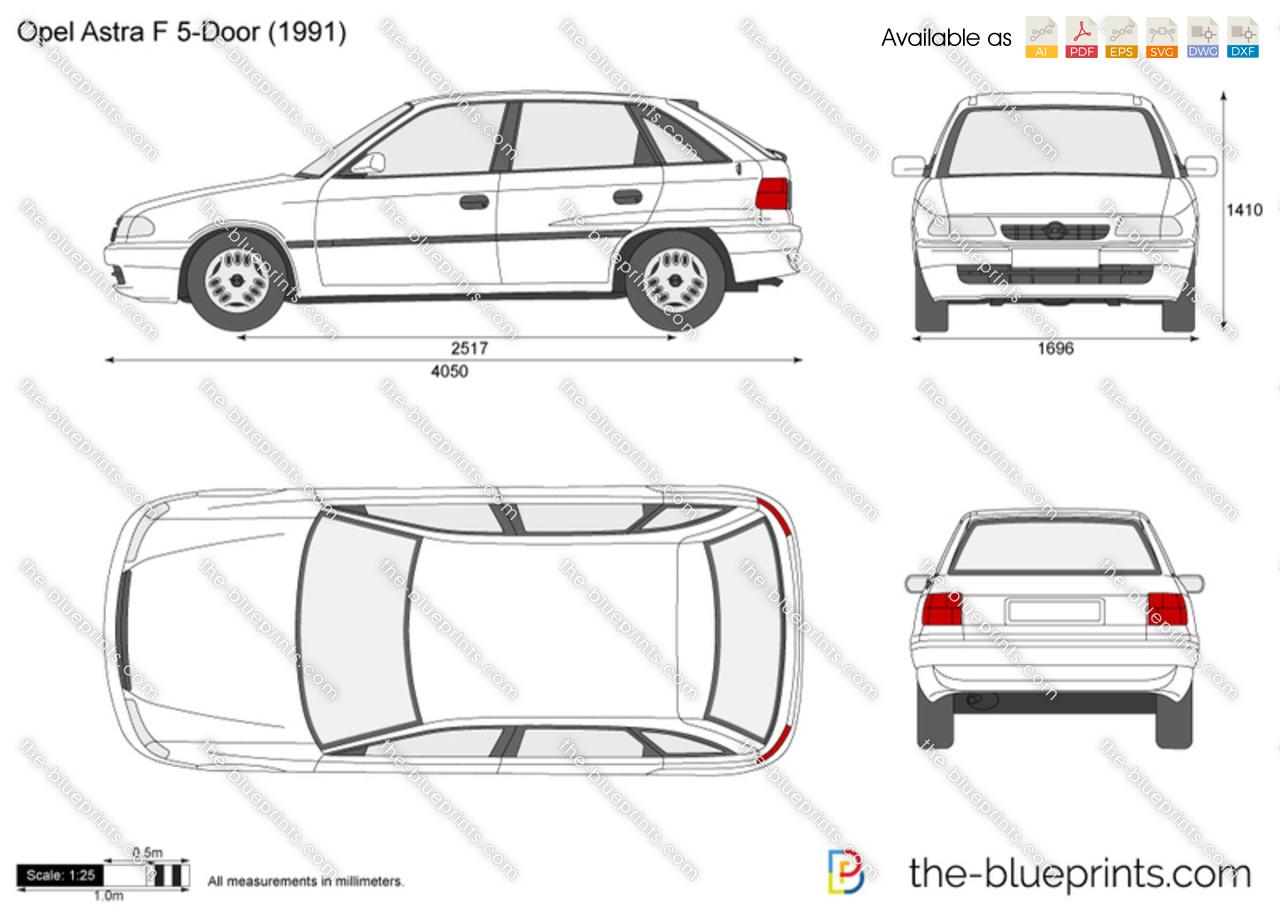 The blueprints com vector drawing opel astra k 5 door - Opel Astra F 5 Door Sc 1 St The Blueprints Com