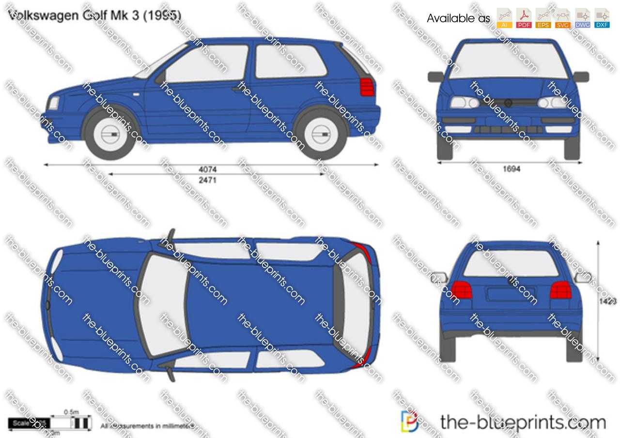 Volkswagen golf iii vector drawing volkswagen golf iii volkswagen malvernweather Image collections