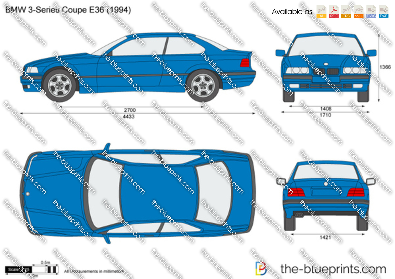 Bmw 3 Series Coupe E36 Vector Drawing