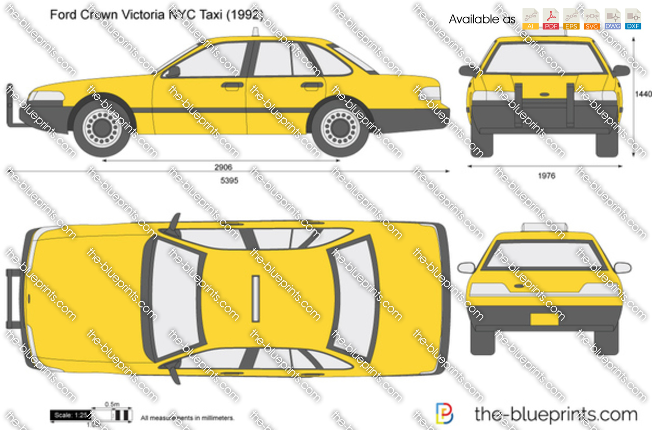 Ford Crown Victoria Nyc Taxi Vector Drawing 1995