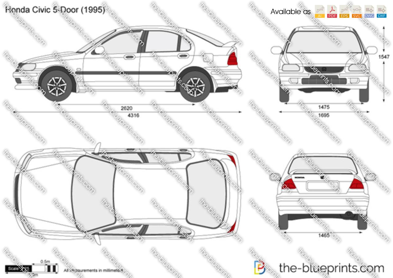 the blueprints     vector drawing   honda civic 5 door