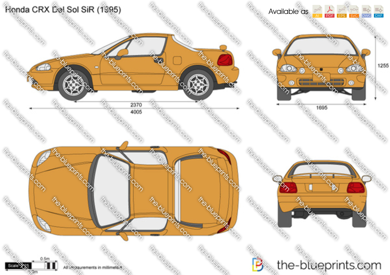 The-Blueprints.com - Vector Drawing - Honda CRX Del Sol SiR