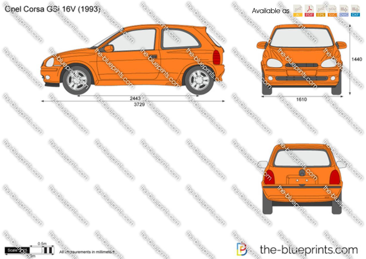 Opel Corsa B Gsi 16v Vector Drawing