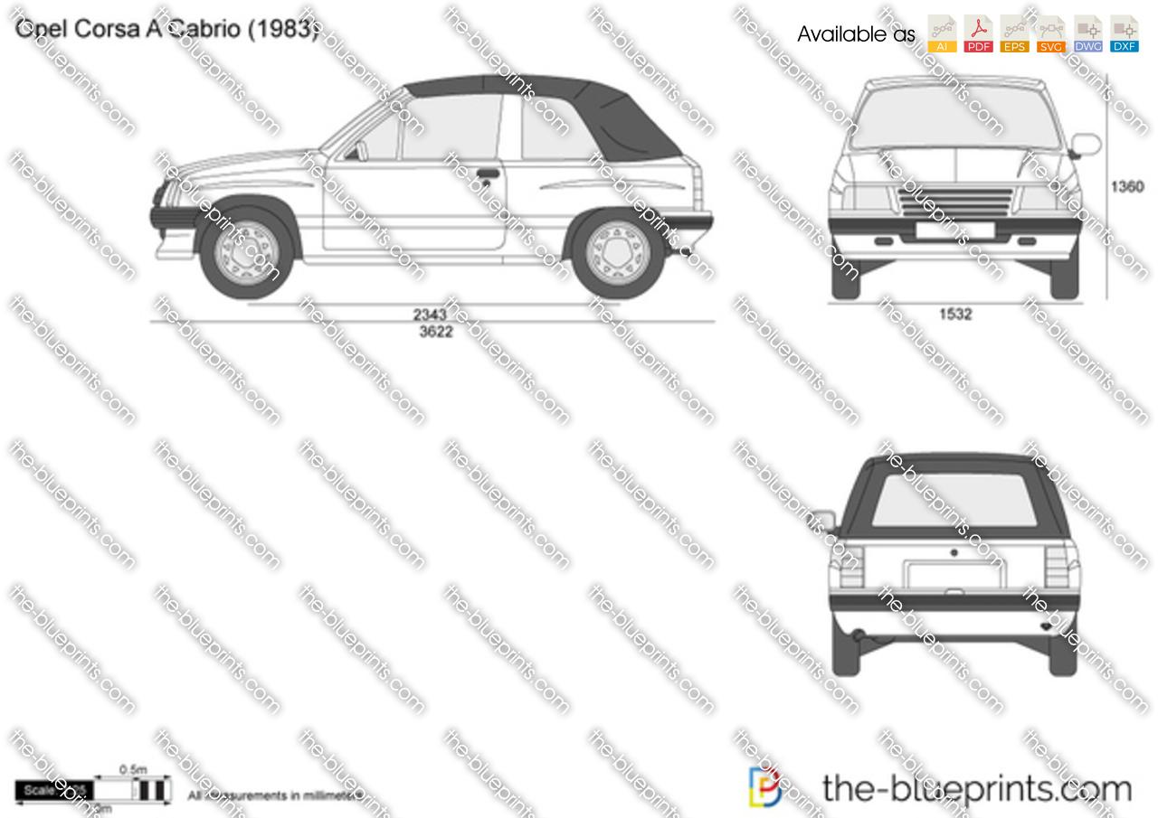opel corsa a cabrio vector drawing. Black Bedroom Furniture Sets. Home Design Ideas