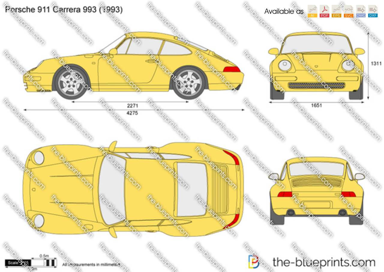 Porsche 911 Carrera 993 vector drawing