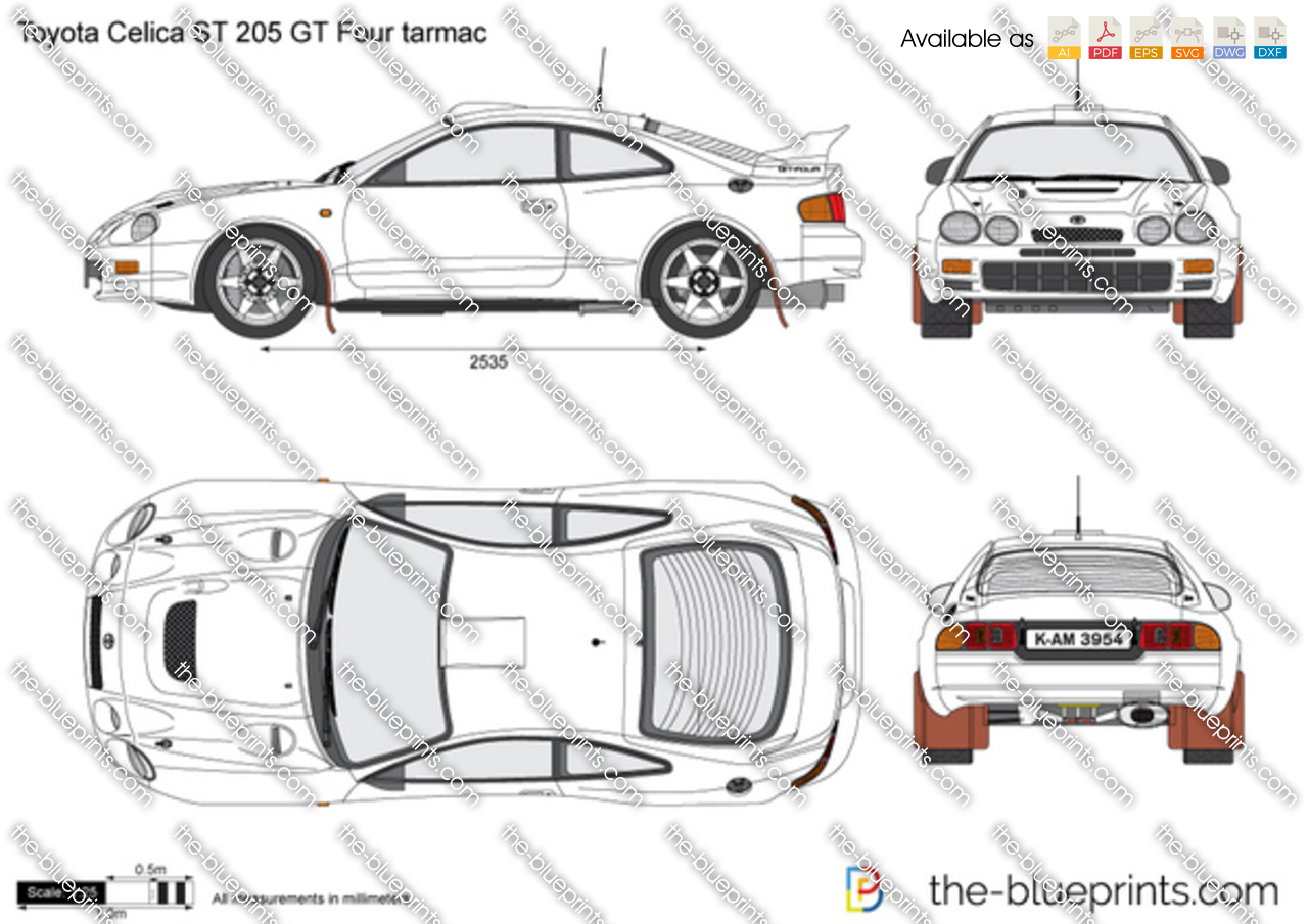 1998 Toyota Celica Blueprint Wiring Diagrams 1993 Engine Diagram St 205 Gt Four Tarmac Vector Drawing 1999