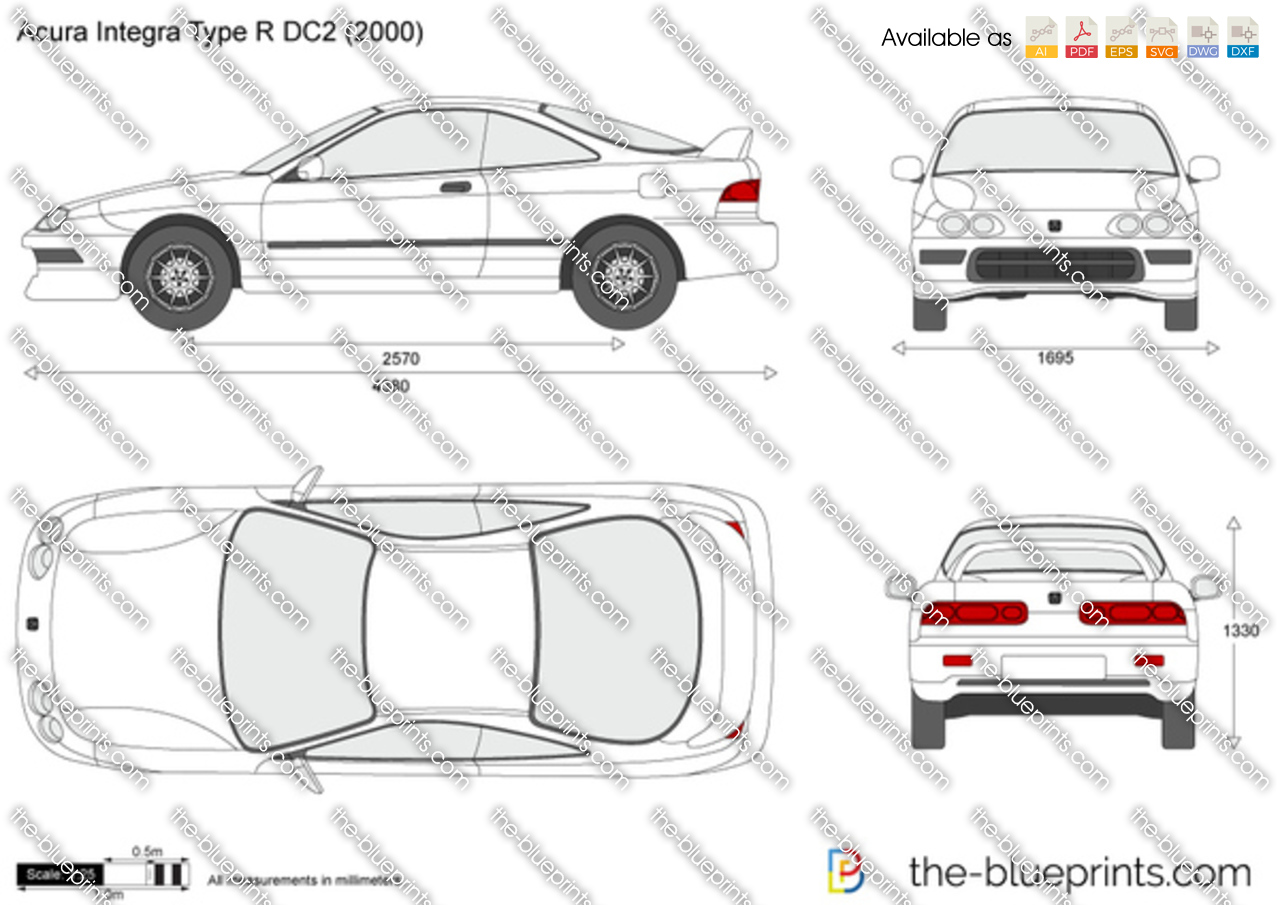 acura integra type r dc2 vector drawing