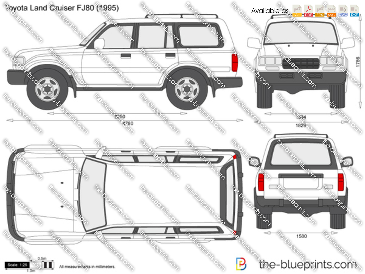 toyota land cruiser fj80 vector drawing