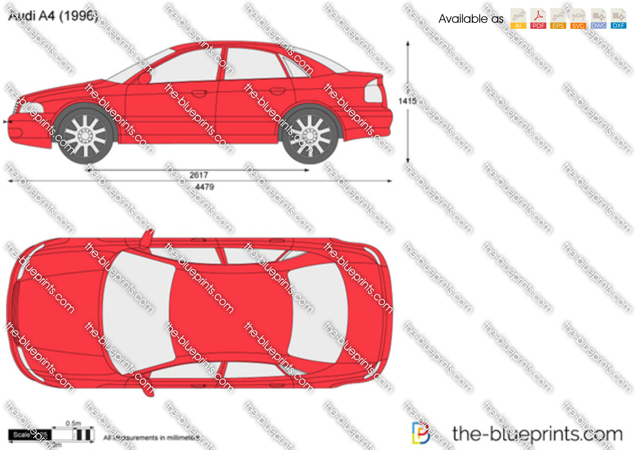 Audi A4 Vector Drawing