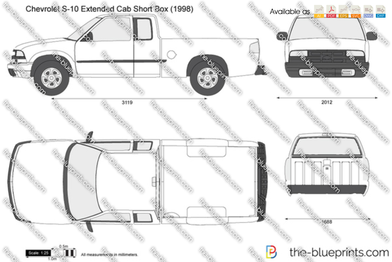 the blueprints com vector drawing chevrolet s 10 extended cab