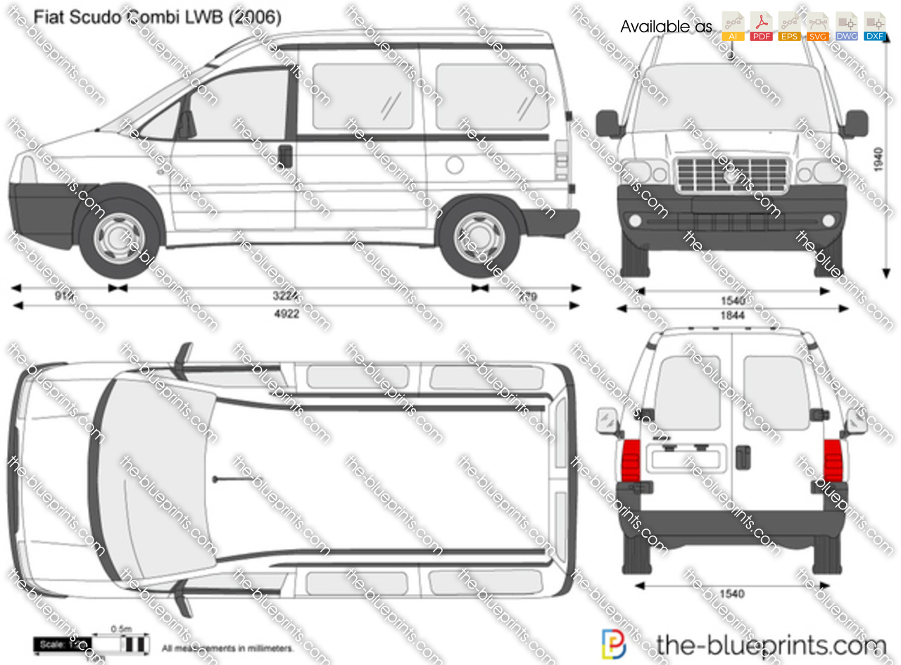 fiat scudo combi lwb vector drawing. Black Bedroom Furniture Sets. Home Design Ideas