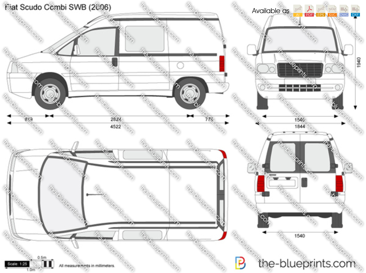 fiat scudo combi swb vector drawing