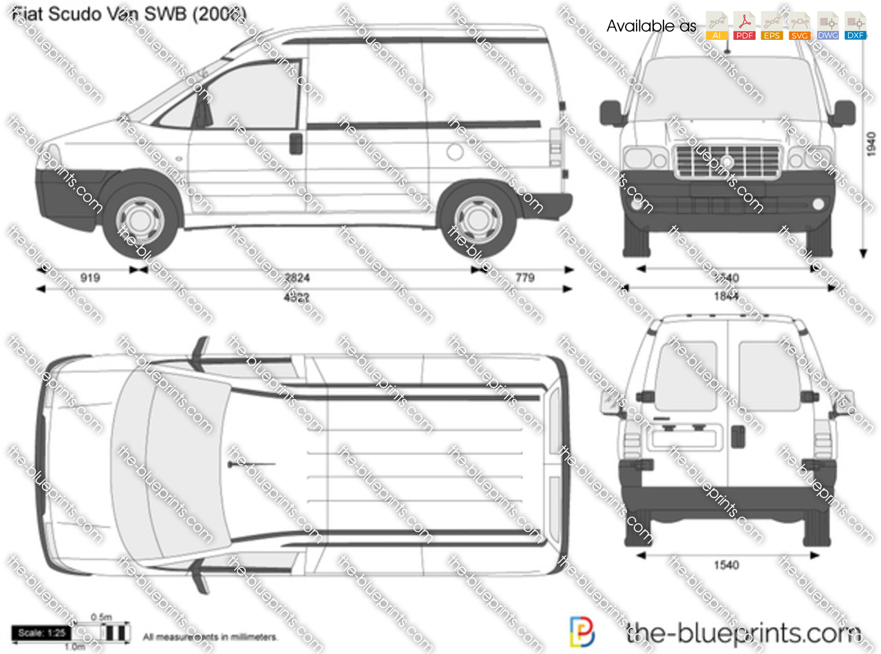 fiat scudo van swb vector drawing. Black Bedroom Furniture Sets. Home Design Ideas