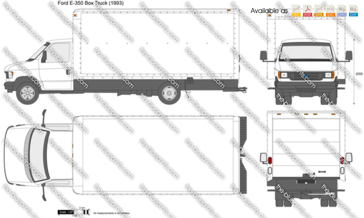 Ford E 350 Box Truck Vector Drawing