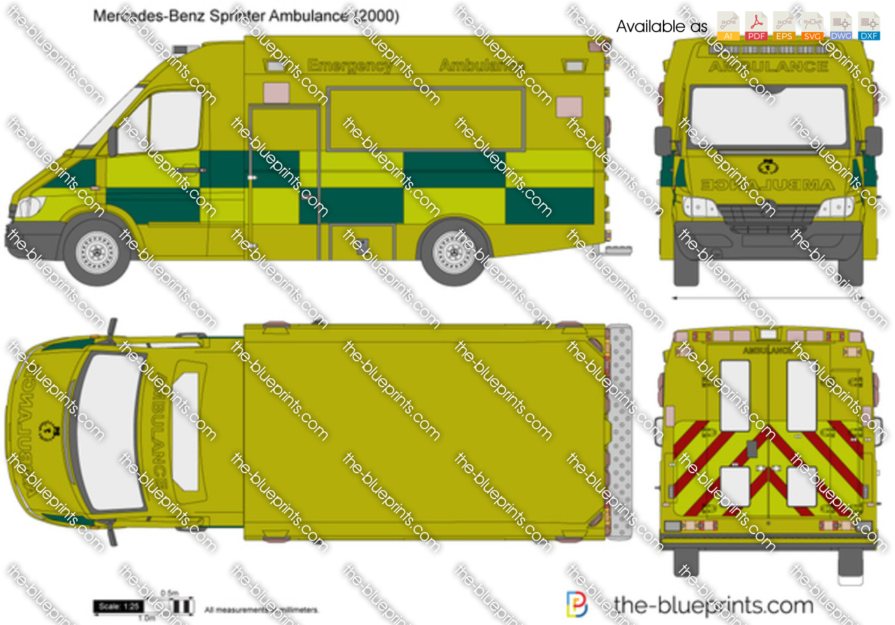 Ambulance For Sale >> Mercedes-Benz Sprinter Ambulance vector drawing