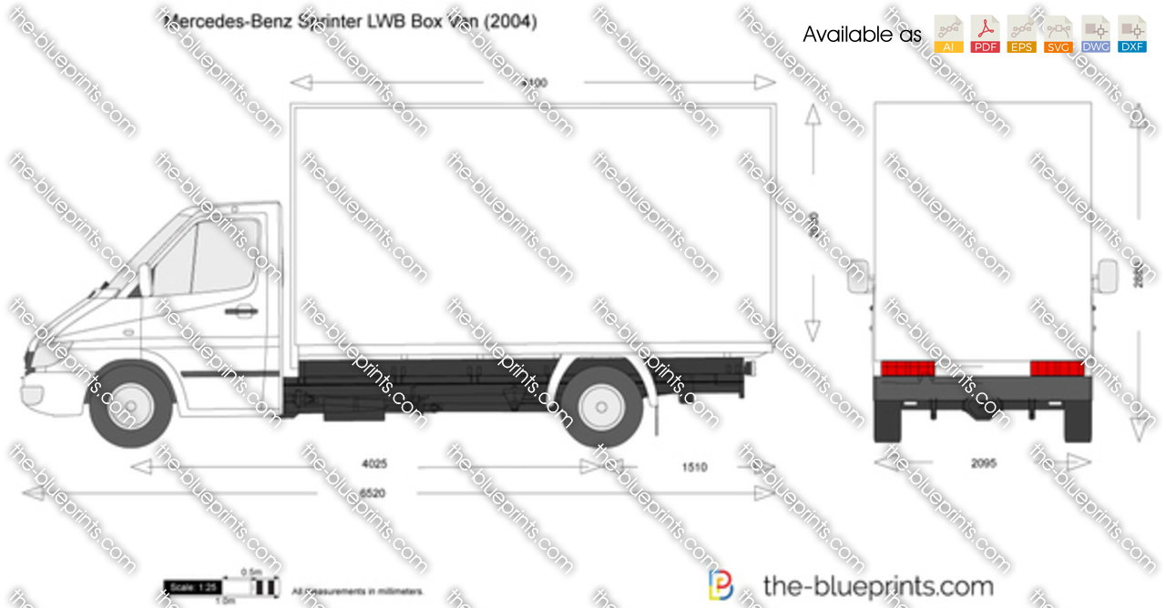 The vector drawing mercedes benz for Mercedes benz box truck