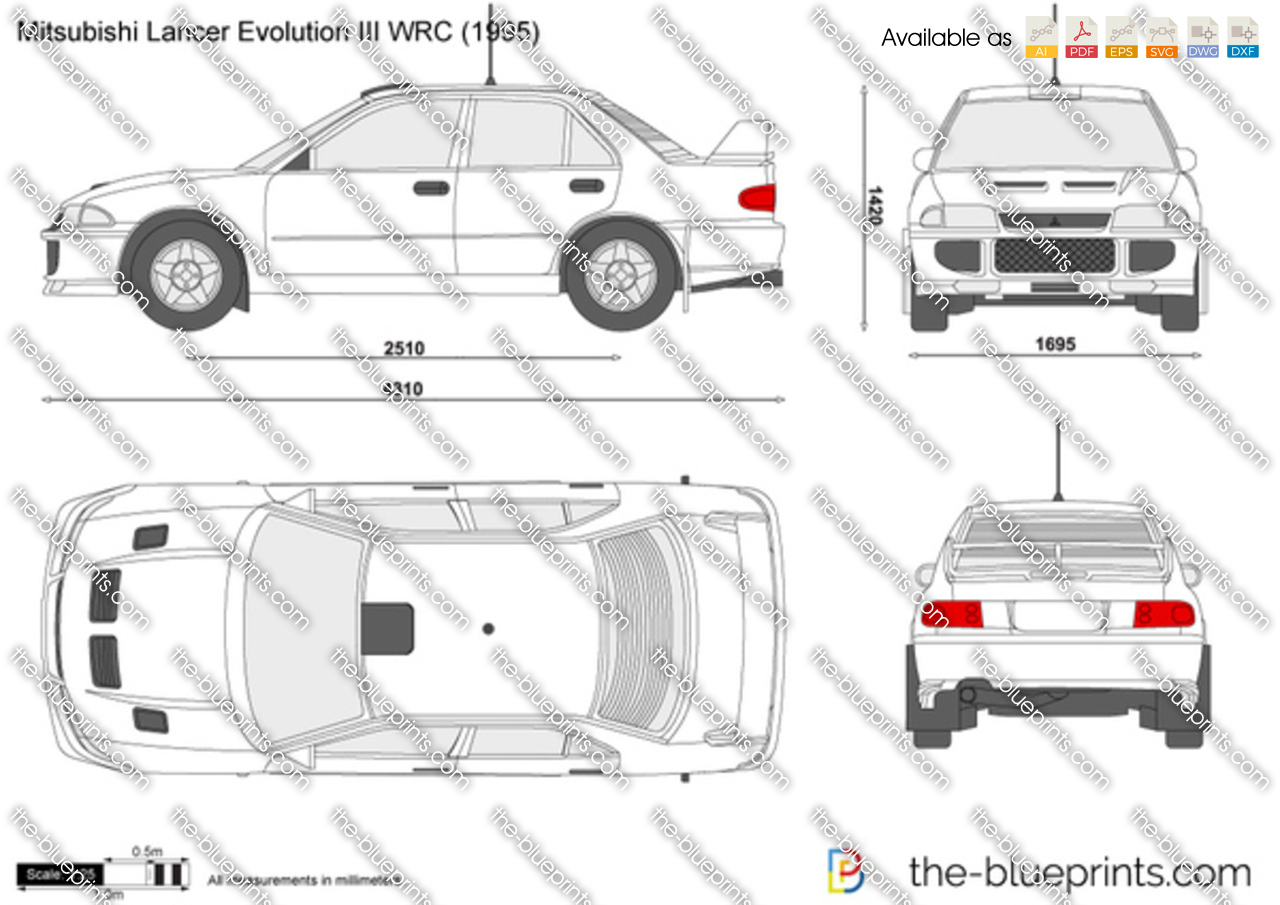 Mitsubishi Lancer Evolution III WRC vector drawing