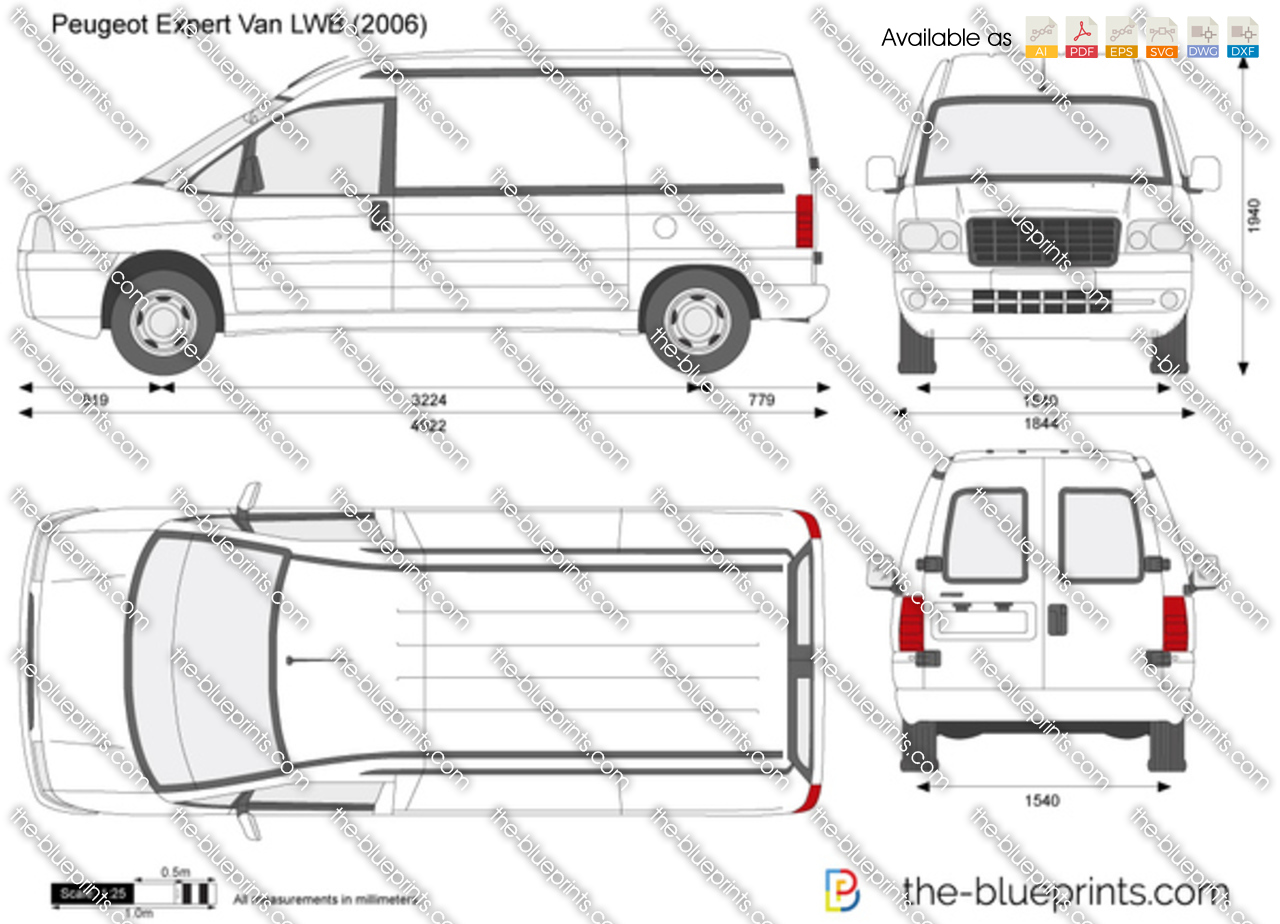 peugeot expert van lwb vector drawing. Black Bedroom Furniture Sets. Home Design Ideas