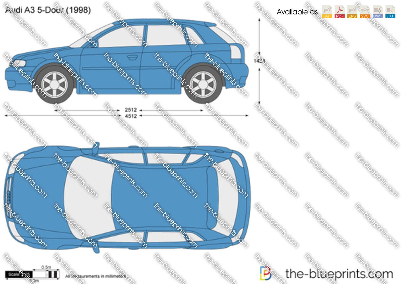 Audi A3 5 Door Vector Drawing
