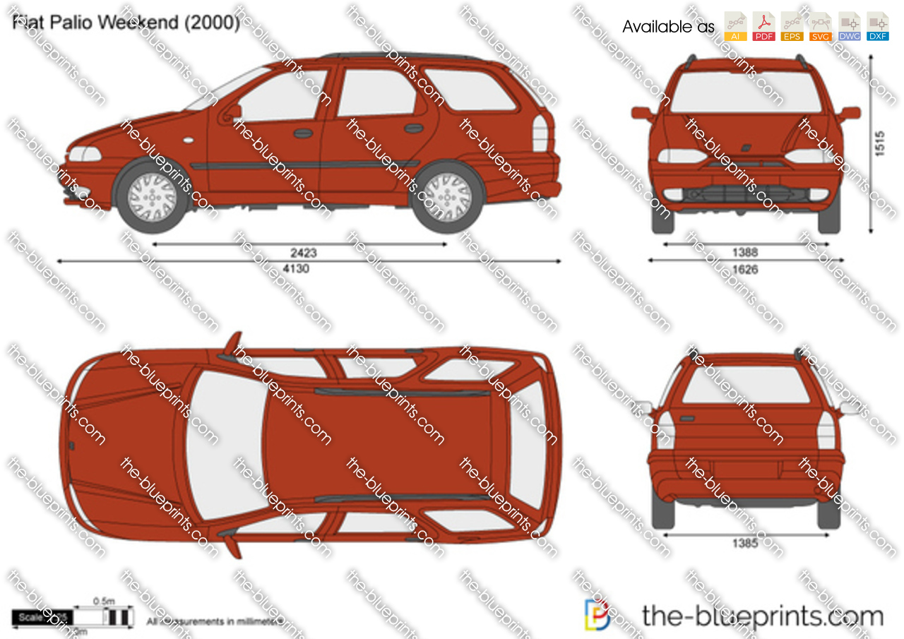 fiat palio weekend vector drawing