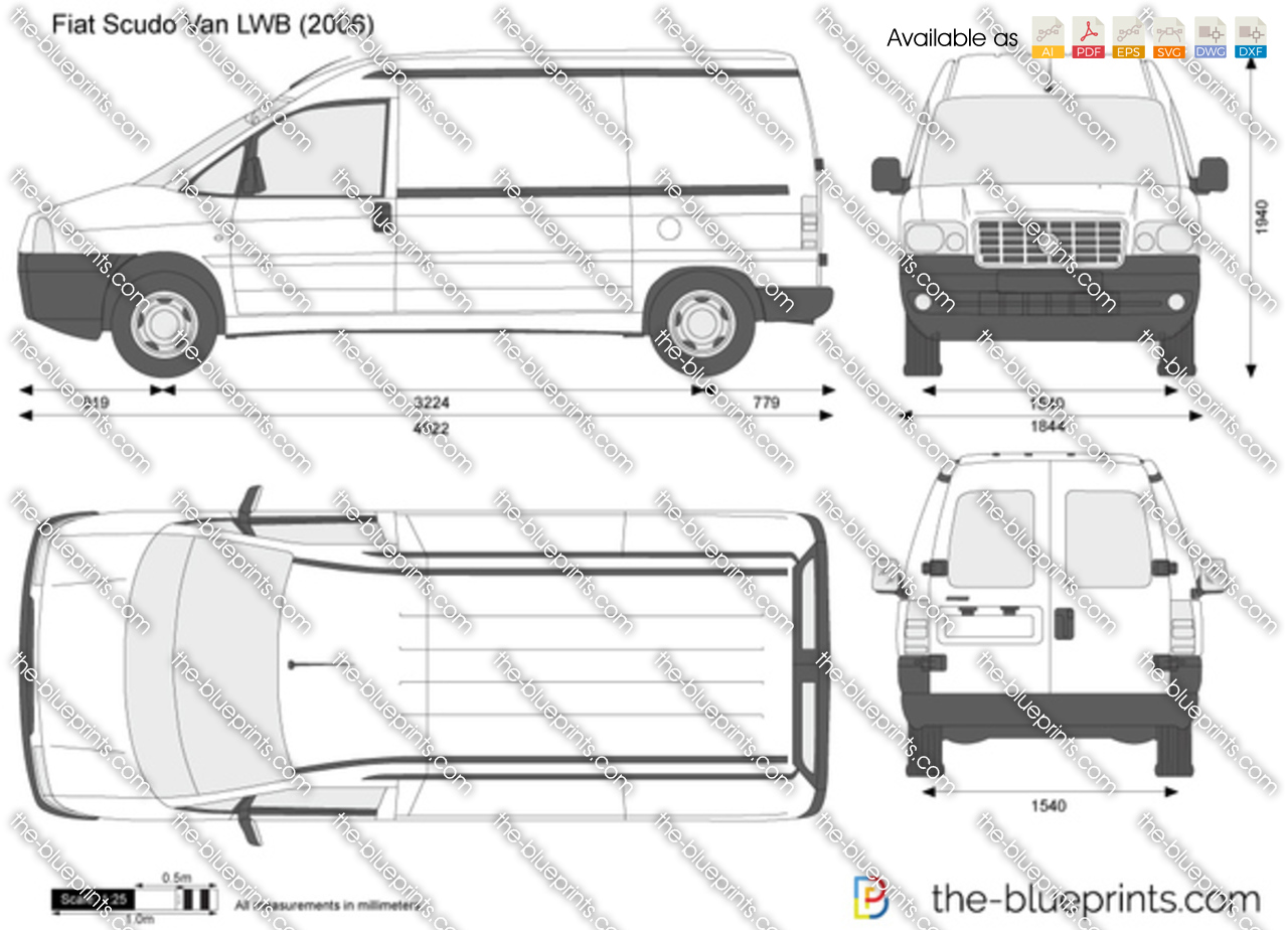 the vector drawing fiat scudo van lwb. Black Bedroom Furniture Sets. Home Design Ideas