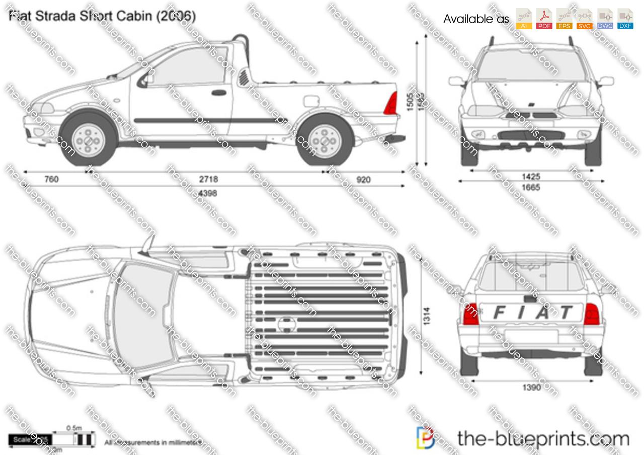 fiat strada short cabin vector drawing