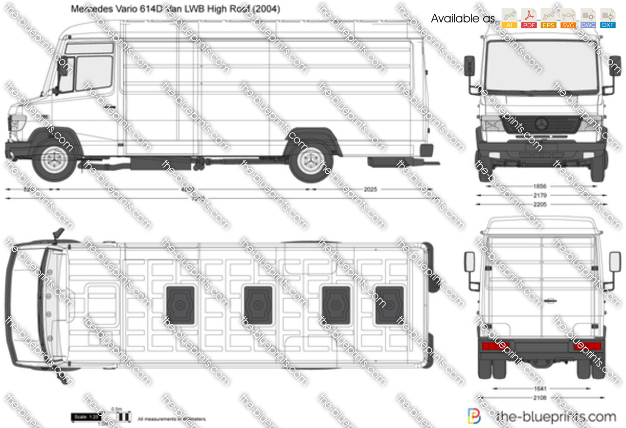 Mercedes Benz Vario 614d Van Lwb High Roof Vector Drawing