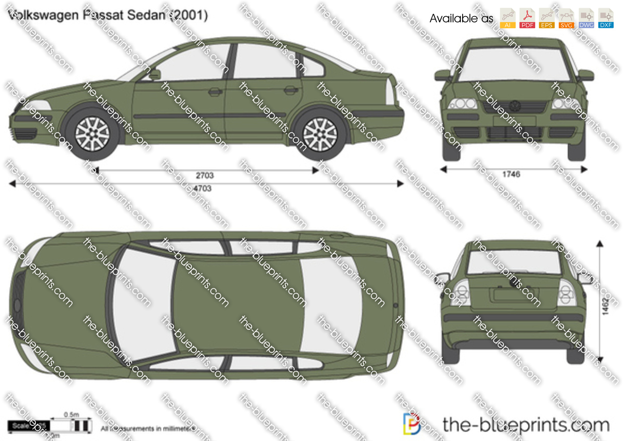 volkswagen passat sedan vector drawing. Black Bedroom Furniture Sets. Home Design Ideas