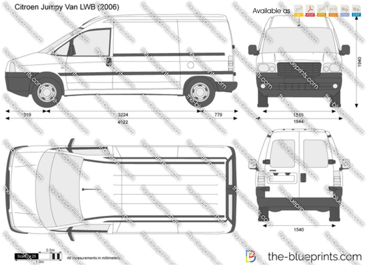 Citroen Jumpy Van Lwb Vector Drawing