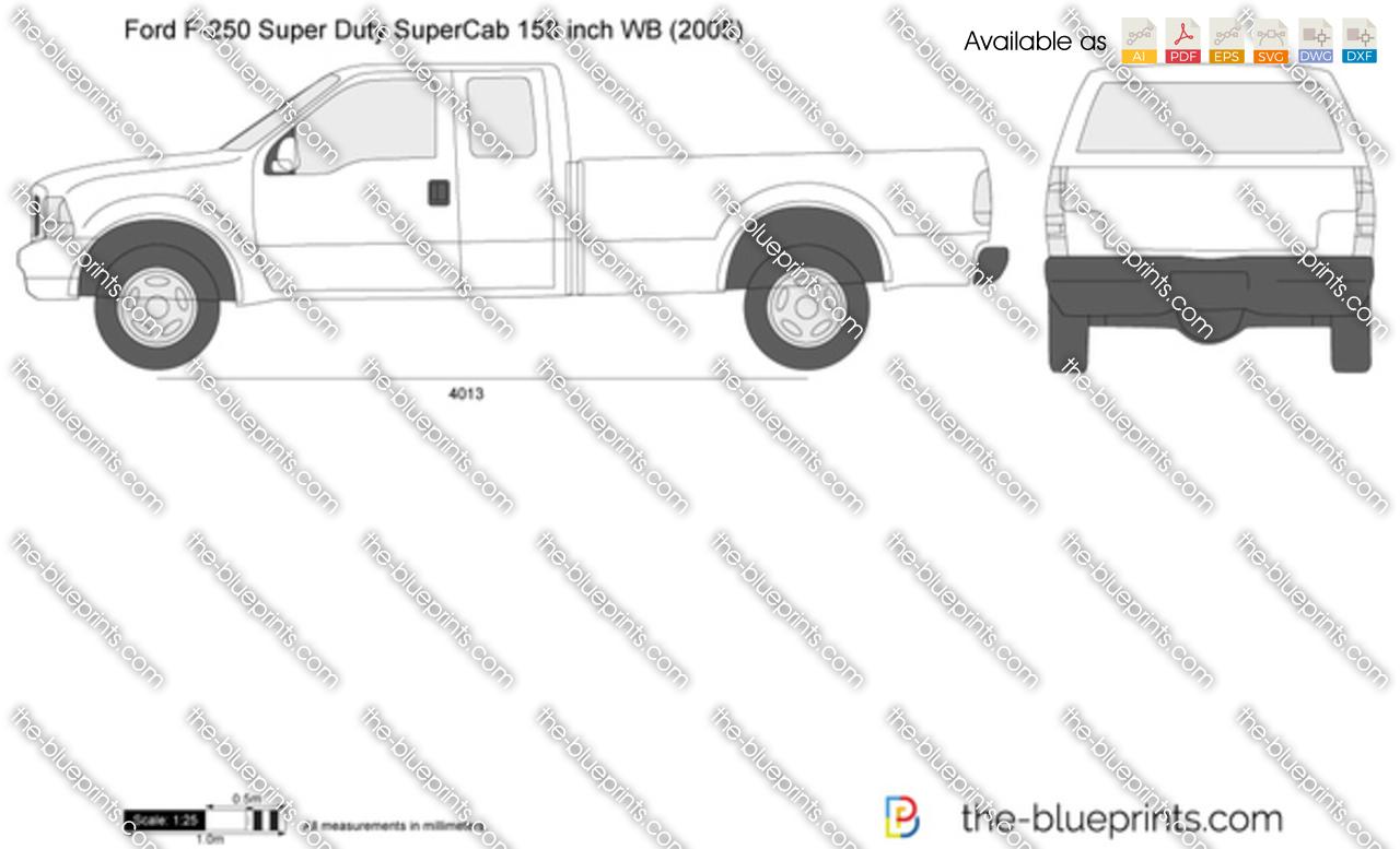 Ford F 250 Super Duty Supercab Lwb 158 Inch Wb Vector Drawing 2000 F250