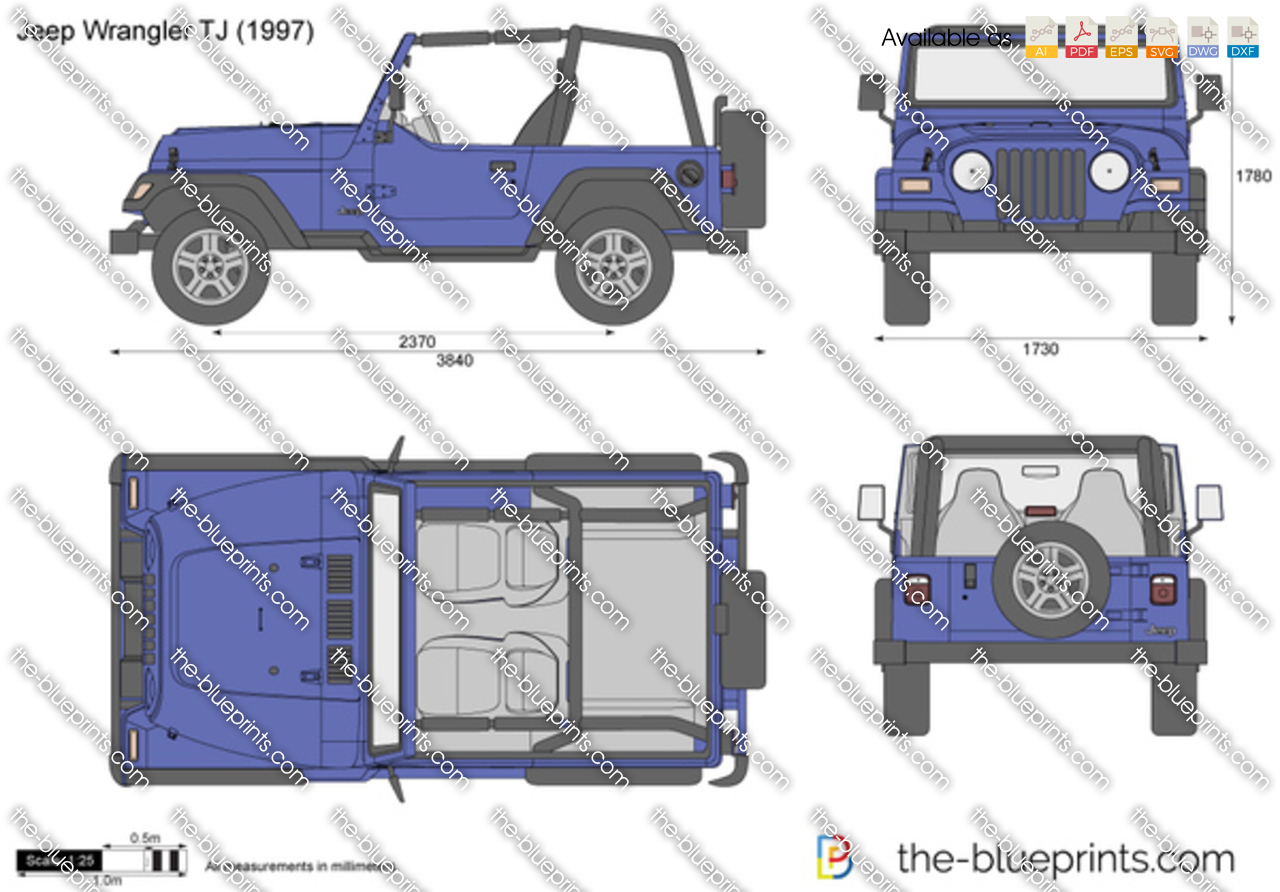 Jeep Wrangler Tj Vector Drawing Outline 1997