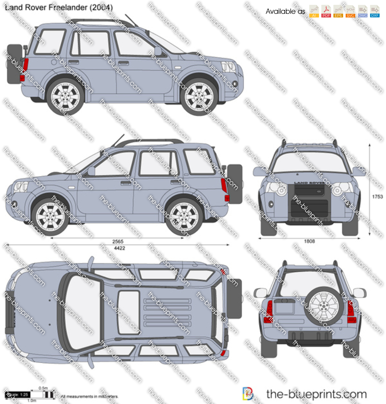 Land Rover Freelander 1: Land Rover Freelander Vector Drawing