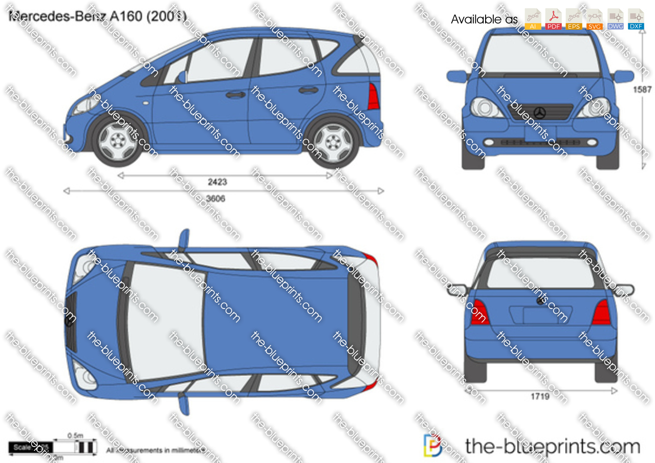 mercedes benz a class a160 w168 vector drawing. Black Bedroom Furniture Sets. Home Design Ideas