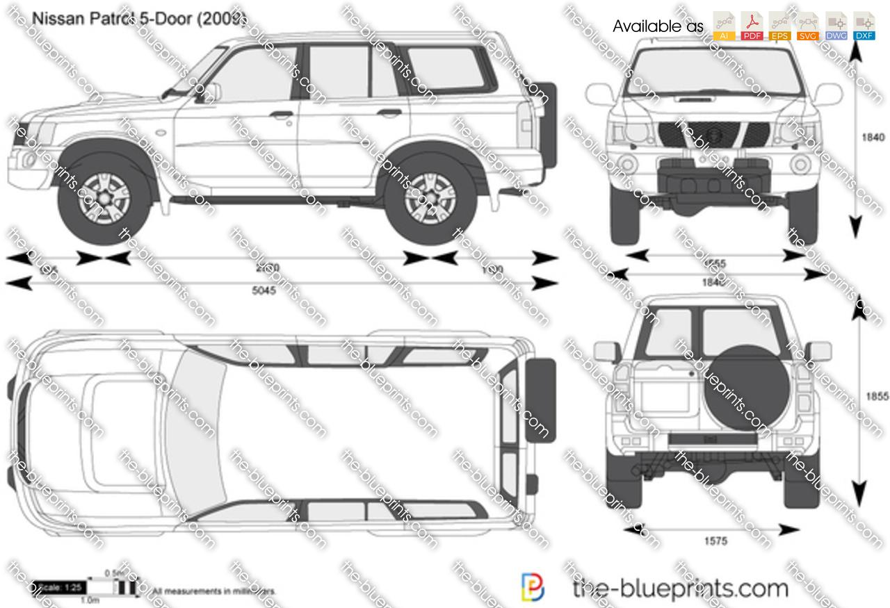 Nissan Patrol 5 Door Vector Drawing