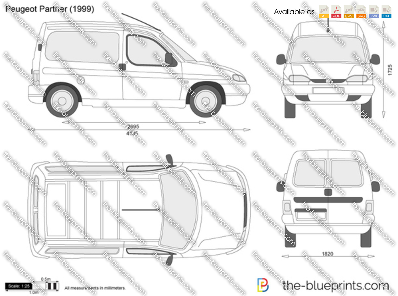 The vector drawing peugeot partner for Dimension interieur kangoo utilitaire