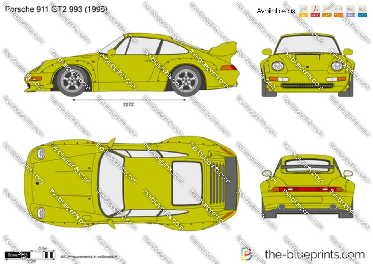 the vector drawing porsche 911 gt2 993. Black Bedroom Furniture Sets. Home Design Ideas