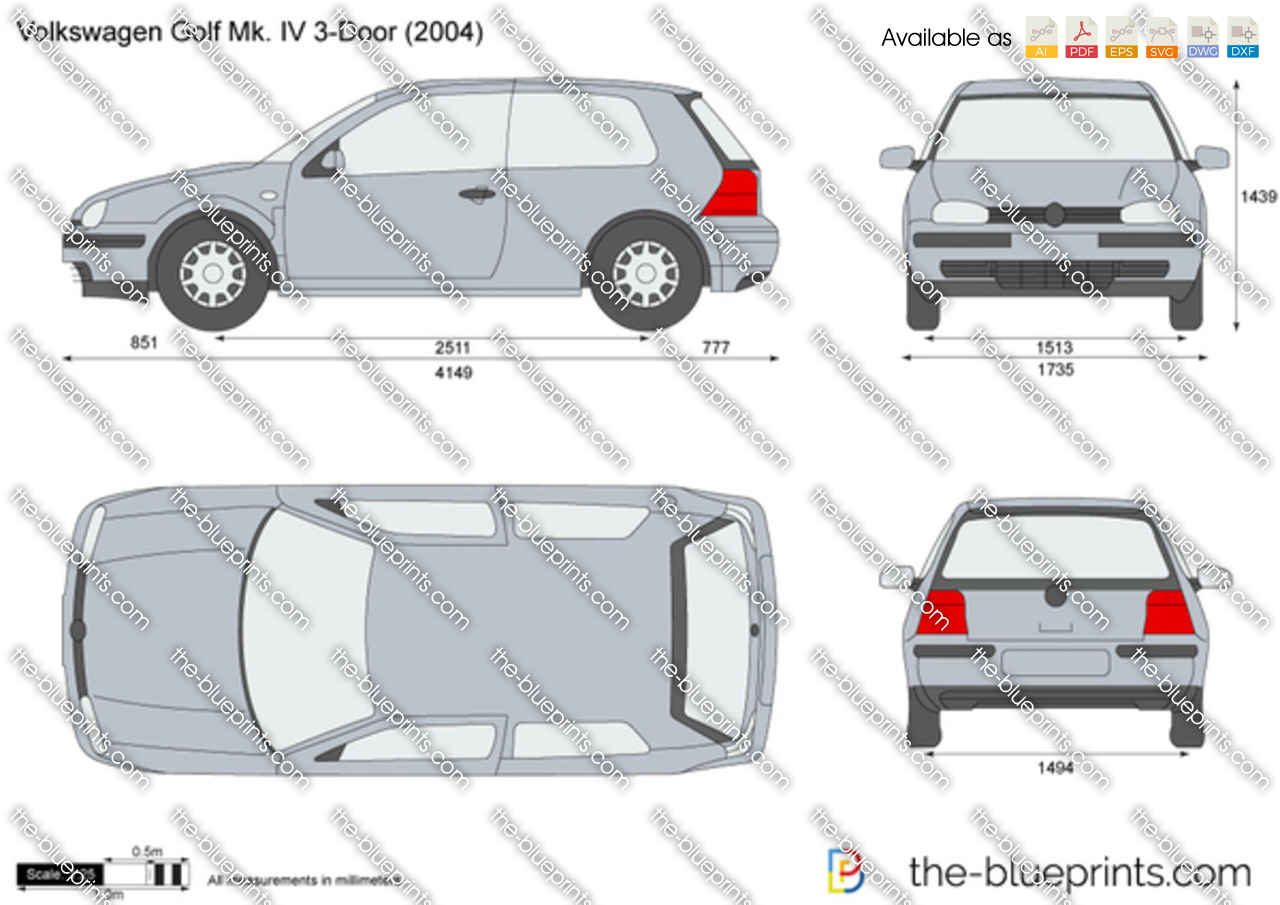 the vector drawing volkswagen golf iv 3. Black Bedroom Furniture Sets. Home Design Ideas
