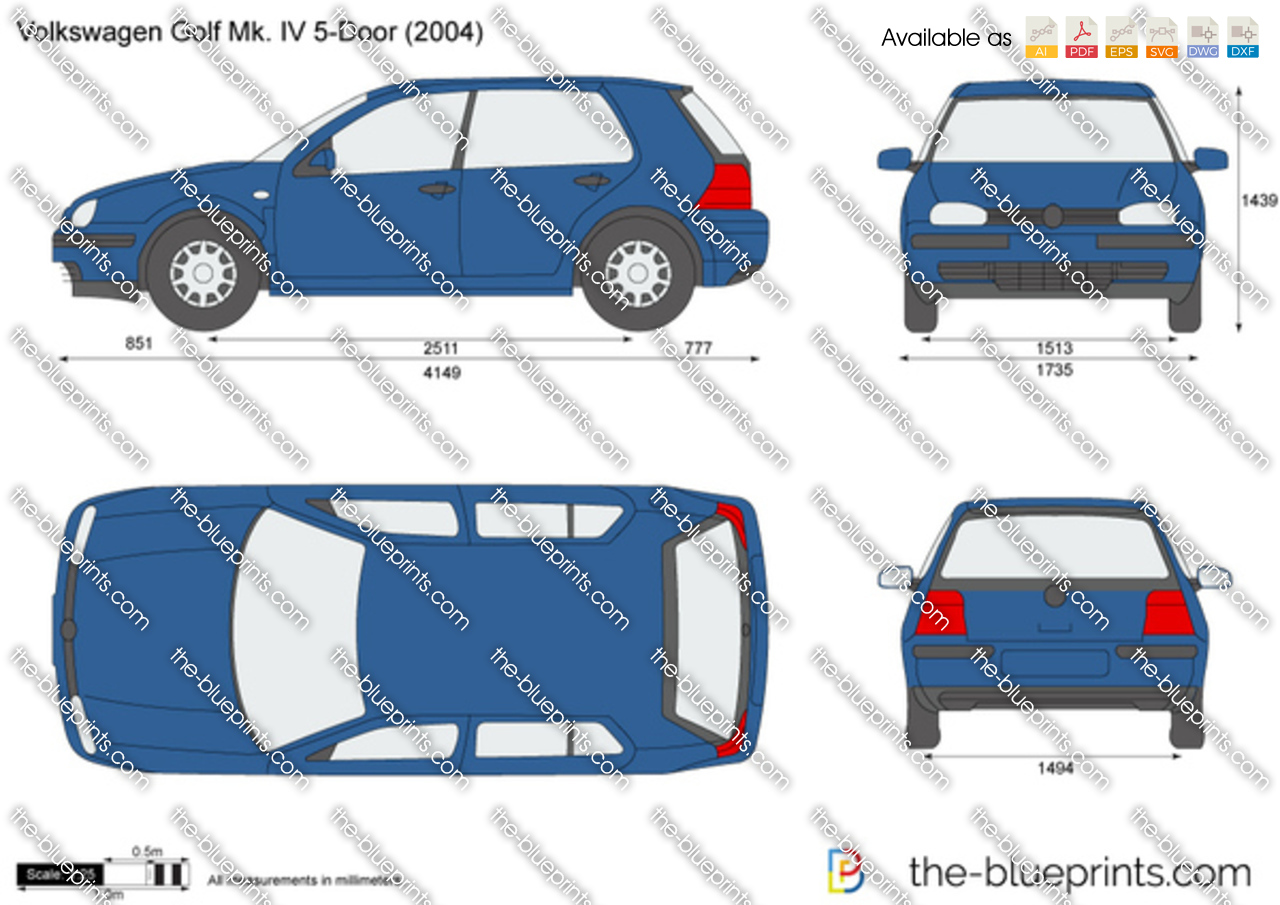 volkswagen golf iv 5 door vector drawing. Black Bedroom Furniture Sets. Home Design Ideas