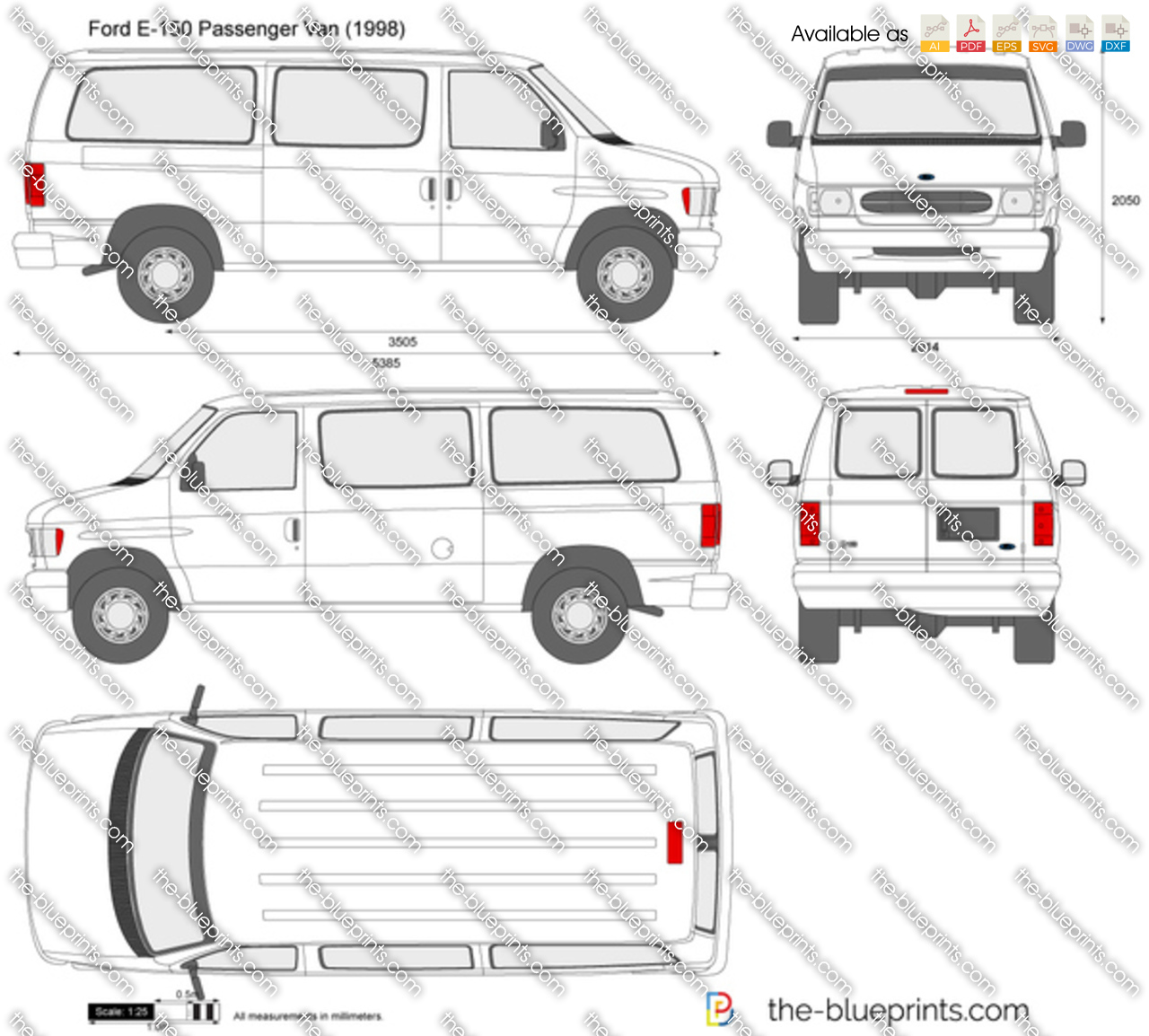 Ford       E      150    Passenger Van vector drawing