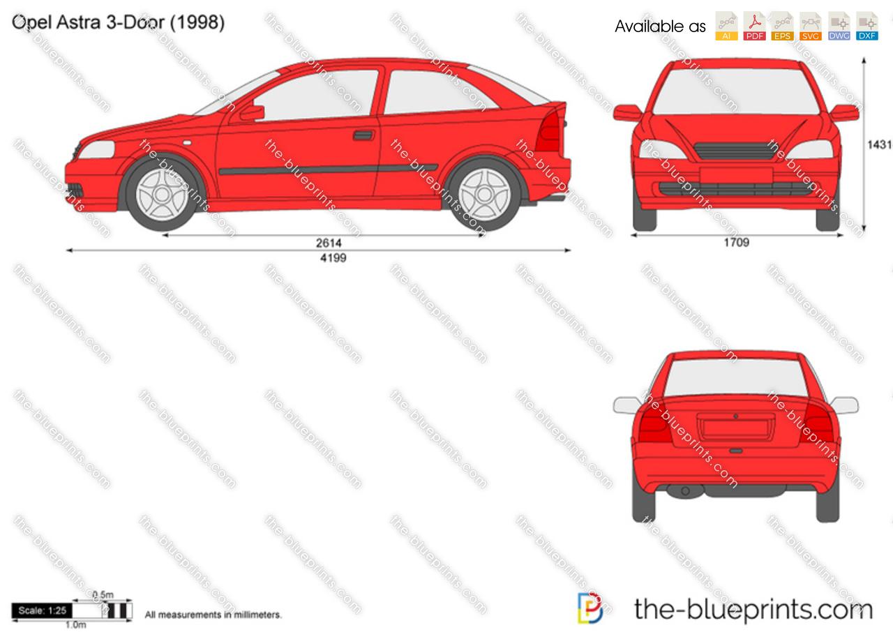 Opel Astra G 3-Door vector drawing