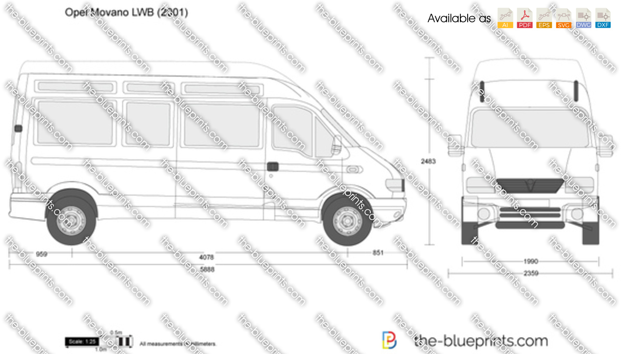 opel movano lwb vector drawing. Black Bedroom Furniture Sets. Home Design Ideas
